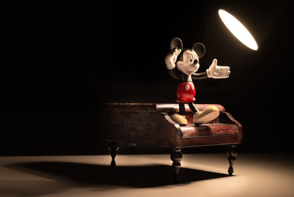 Mickey Mouse comanding the stage with his body language