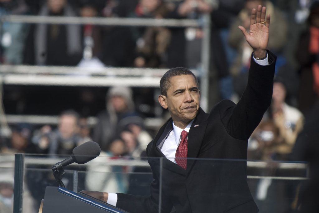 Obama using the rule of three in his inaugural speech