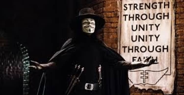 The movie, 'V for Vendetta', uses the poetic device of alliteration in its legendary monologue