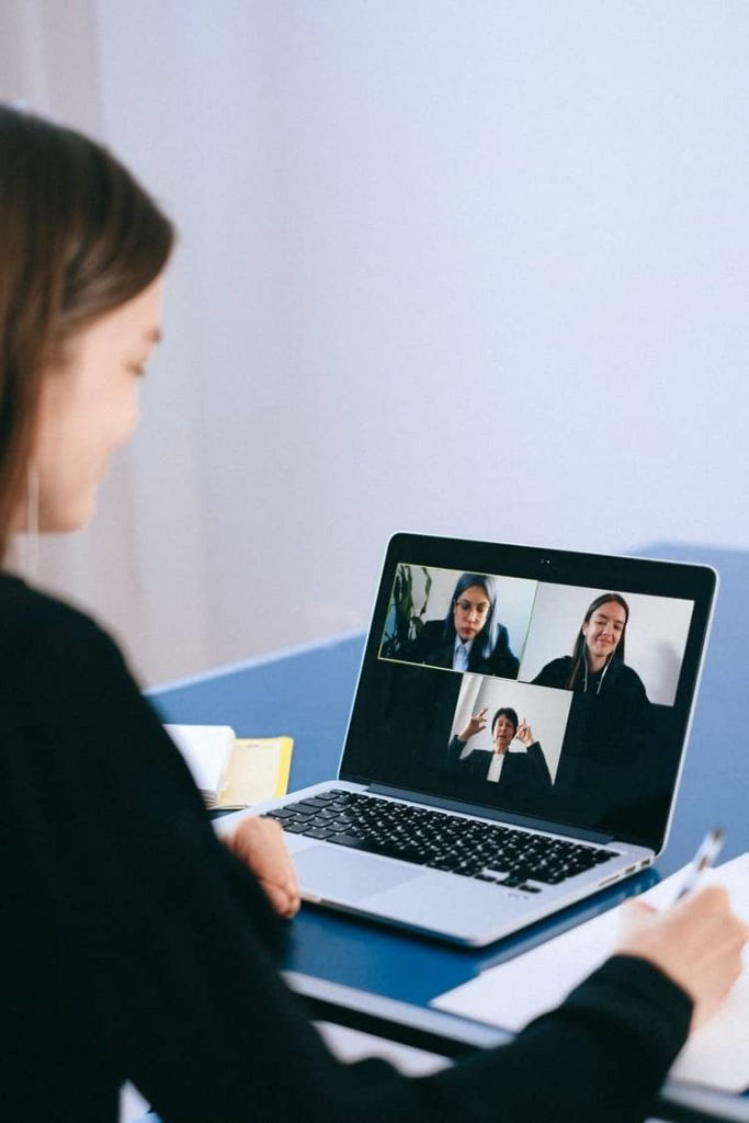 Audience interaction in a virtual meeting.