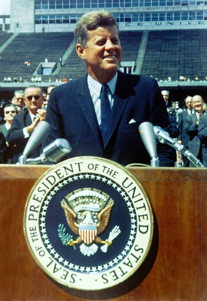 John Kennedy giving a speech.