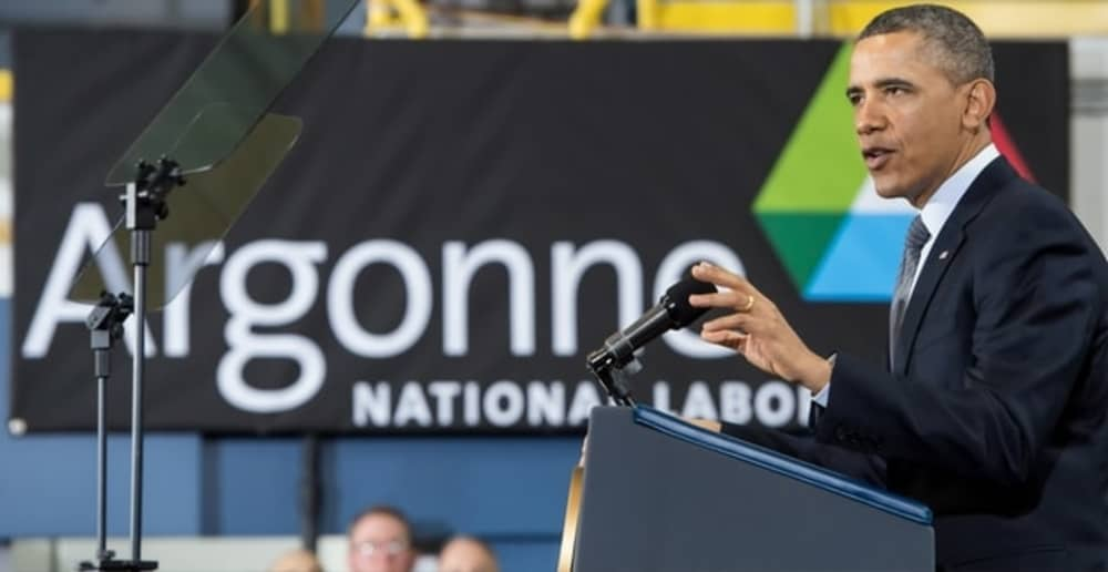 Picture of a speech where the speaker is talking.