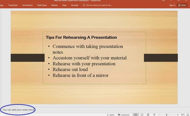 An example of how to add notes in power point presentation.