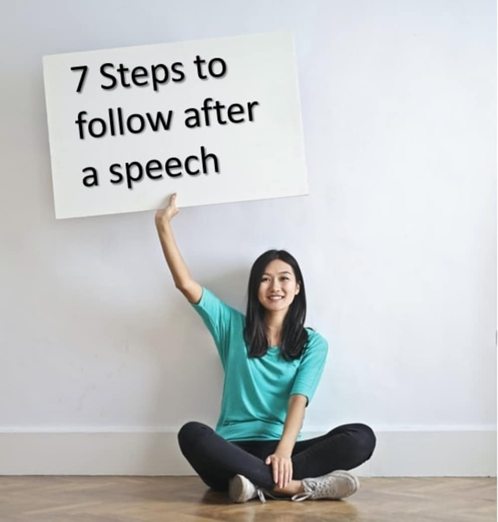 Poster image of the title. It shows what one can do after a speech.