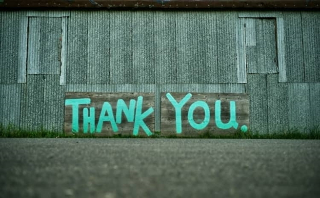 The picture portrays the word 'thank you' which the speaker must say after the speech ends.