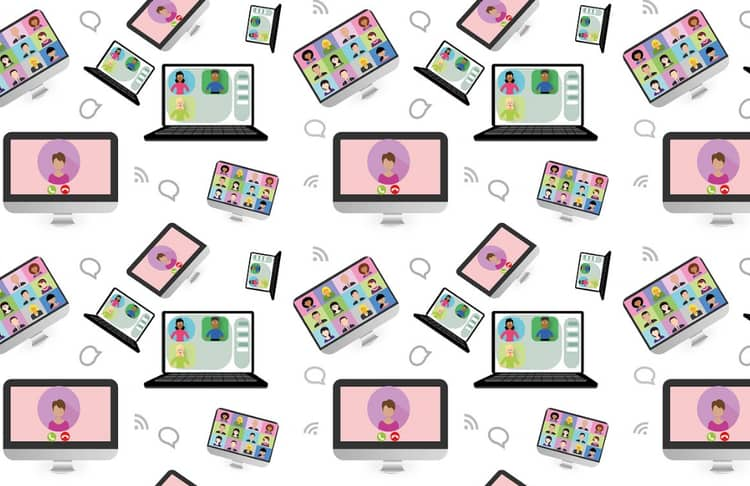 Animated pictures of video calling from laptops for business communication.