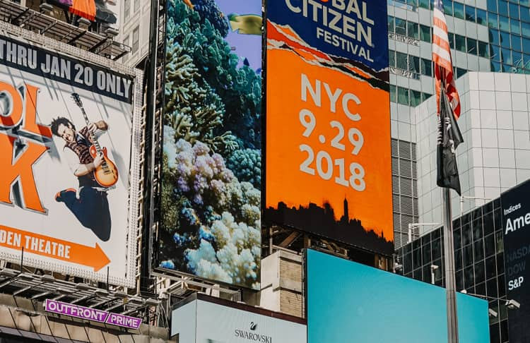 Billboards in New York used for advertisements to communicate