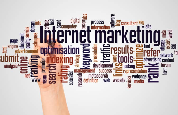 """A hand writing """"internet marketing"""" in the middle with related terms surrounding it as an example of business communication model."""