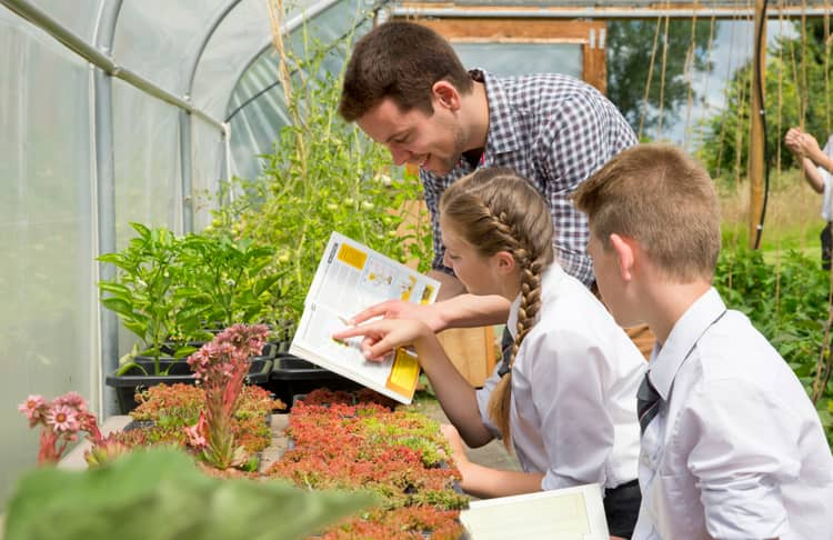 Students communicating with their teacher by learning about plants