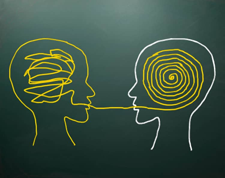 Image showing one messy mind being able to communicate its thoughts with clarity to a different person.