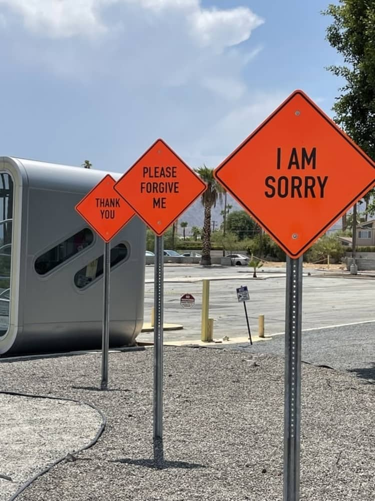 Sign boards showing various apologetic phrases one should avoid in a speech.
