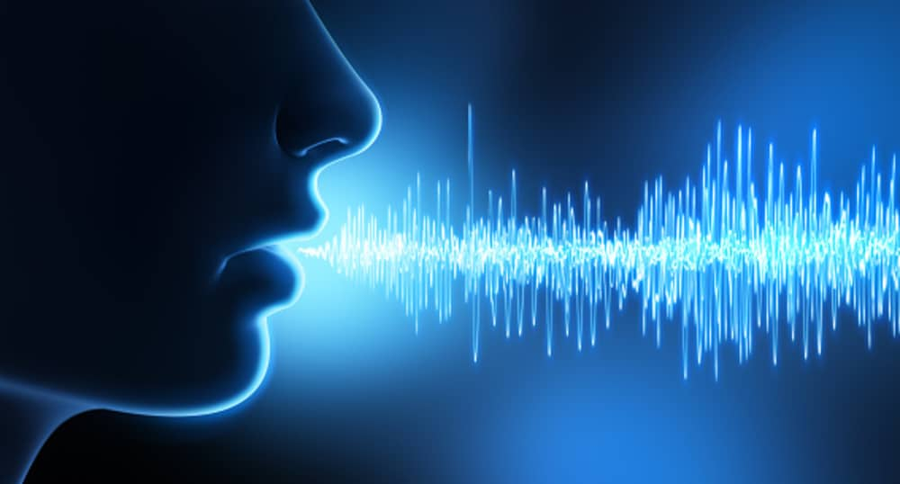 Speaker speaking various phrases at a set frequency.